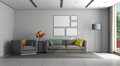 Minimalist living room with gray sofa and armchair - PhotoDune Item for Sale