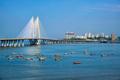 Bandra - Worli Sea Link bridge with fishing boats view from Bandra fort. Mumbai, India - PhotoDune Item for Sale