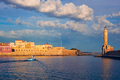 Boat in picturesque old port of Chania, Crete island. Greece - PhotoDune Item for Sale