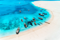 Aerial view of the fishing boats and yachts on tropical sea coast - PhotoDune Item for Sale