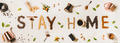 Stay at home lettering made from coffee utensils, dry ingredients - PhotoDune Item for Sale