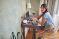 Woman remote work from home.  Freelance working on laptop. - PhotoDune Item for Sale