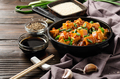Mapo tofu in cast iron skillet with pork chopped chives soy sauce sichuan pepper - PhotoDune Item for Sale