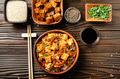 Flat lay view at traditional Chinese food mapo tofu dish with pork - PhotoDune Item for Sale
