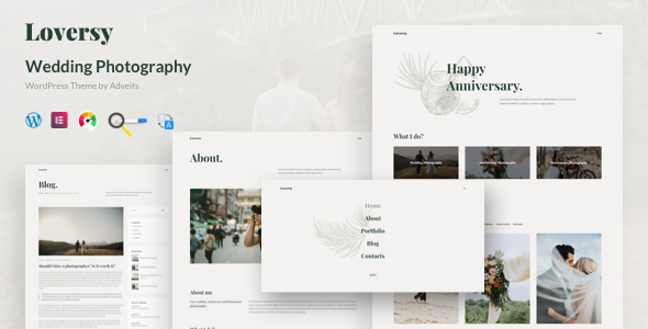 Loversy – Wedding Photography WordPress Theme Preview