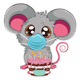 Kawaii Mouse in Face Mask with Cake - GraphicRiver Item for Sale