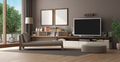 Brown living room with home cinema system - PhotoDune Item for Sale