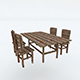 Old Wooden Chair Table - 3DOcean Item for Sale