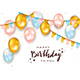 Pink and Blue and Golden Birthday Balloons - GraphicRiver Item for Sale