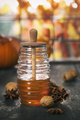 Autumn composition. Jar of Honey, pumpkins and spices on wooden window sill. - PhotoDune Item for Sale