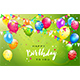 Happy Birthday with Colorful Balloons and Pennants on Green Background - GraphicRiver Item for Sale