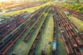 Aerial view of freight trains. Top view of old rusty wagons - PhotoDune Item for Sale