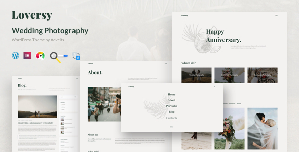 Loversy – Wedding Photography WordPress Theme Preview