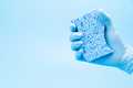 Hand in blue glove with sponge - PhotoDune Item for Sale