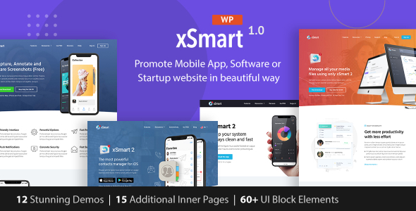 xSmart – App landing WordPress Theme Preview