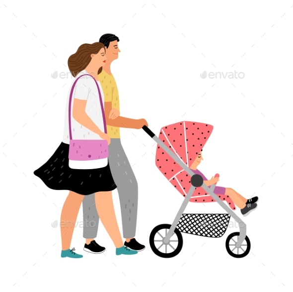 Walking with Baby Stroller
