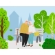 Elderly Couple in City Park - GraphicRiver Item for Sale