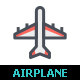 Airplane & Transport Line with Color Icon Set - GraphicRiver Item for Sale