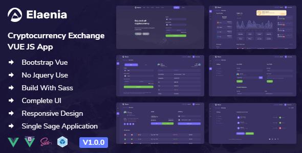 Elaenia - Cryptocurrency Exchange Dashboard VUE JS App + Landing page
