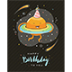 Happy Birthday and Planet on Black Background - GraphicRiver Item for Sale