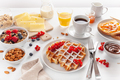 breakfast with granola berry nuts, waffle, toast, jam, chocolate spread and coffee - PhotoDune Item for Sale