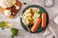 mashed cauliflower and grilled sausages. ketogenic paleo diet lunch - PhotoDune Item for Sale