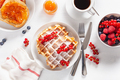 breakfast with waffle, toast, berry, jam and coffee. Top view - PhotoDune Item for Sale