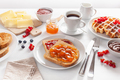 breakfast with waffle, toast, berry, jam and coffee - PhotoDune Item for Sale