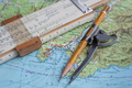 Map And Navigational Instruments For Laying The Way. - PhotoDune Item for Sale