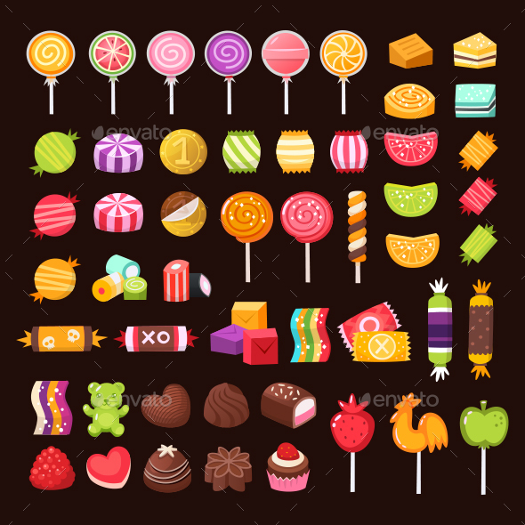Isolated Sweets and Candies for Halloween and Valentine Day.
