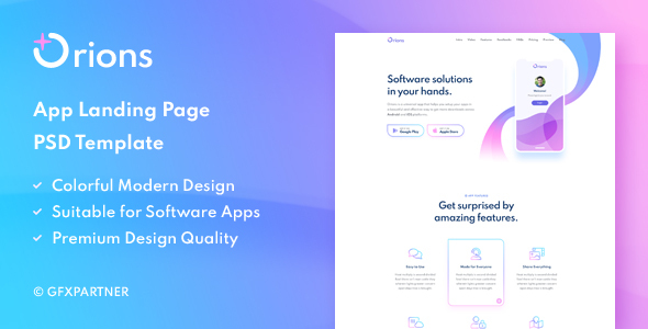 Orions – App Landing Page PSD Template