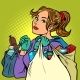 Young Woman with Grocery Bags - GraphicRiver Item for Sale