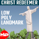 Low Poly Christ The Redeemer Statue Landmark - 3DOcean Item for Sale