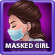 SET of Girls with Headphones in Medical Masks - GraphicRiver Item for Sale