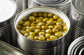 Canned green peas in just opened tin can. Non-perishable food - PhotoDune Item for Sale
