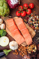 Raw salmon fillets fresh, healthy uncooked slices of fish on wood - PhotoDune Item for Sale