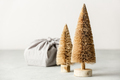Fabric wrapped gift and coconut fiber Christmas trees - PhotoDune Item for Sale