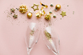 Flat lay of Celebration. Champagne glasses and Christmas decoration - PhotoDune Item for Sale