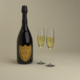 Champagne Dom Perignon Charme D'Irene Vintage 1979 and wineglasses - 3DOcean Item for Sale