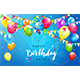 Happy Birthday with Colorful Balloons and Pennants on Blue Background - GraphicRiver Item for Sale