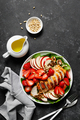 Grilled chicken breast and strawberry salad with red apples, fresh spinach and nuts - PhotoDune Item for Sale