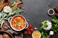 Cooking pasta e fagioli soup with chicken meat and vegetables, italian cuisine - PhotoDune Item for Sale