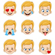 Blond Boy Face with Blue Eyes Emoji Expressions - GraphicRiver Item for Sale