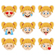 Blond Girl Face with Blue Eyes Emoji Expressions - GraphicRiver Item for Sale
