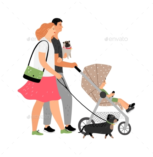 Young Family Walking Characters
