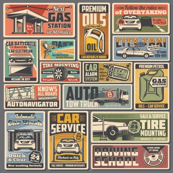 Car Service and Auto Parts Retro Vector Posters