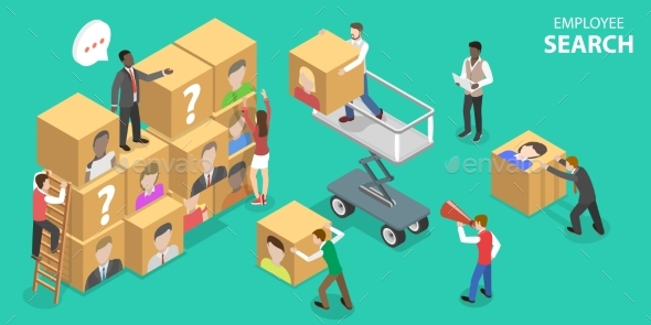 Isometric Flat Vector Concept of Employee Search