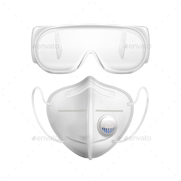 Individual Protective Medial Mask Glasses Realistic Icon Set