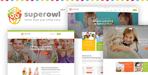 SuperOwl - Kindergarten, School of Early Learning, Nanny Agency HTML Template