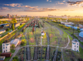 Aerial view of freight trains. Top view of wagons, railroad - PhotoDune Item for Sale